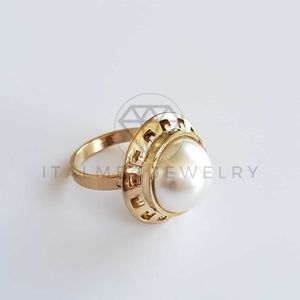 18k GoldFilled Greek Bezel Pearl Ring Oro Laminado